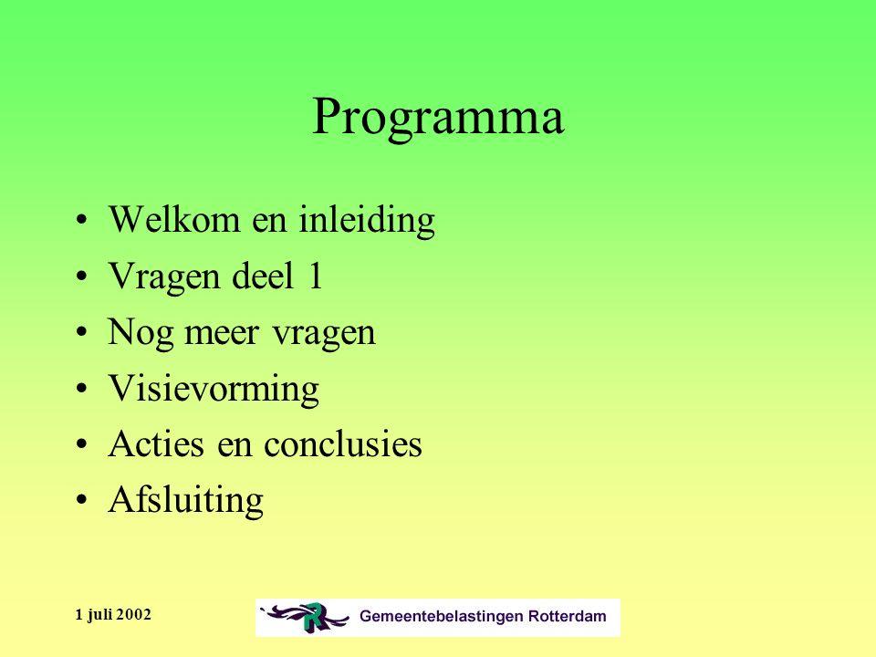 1 juli 2002 Vraag 8 Heb je al veel concrete ideeën om de klantenservice bij PuZa te verbeteren.