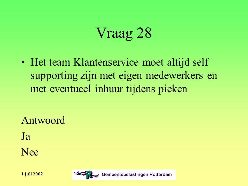1 juli 2002 Vraag 28 Het team Klantenservice moet altijd self supporting zijn met eigen medewerkers en met eventueel inhuur tijdens pieken Antwoord Ja Nee