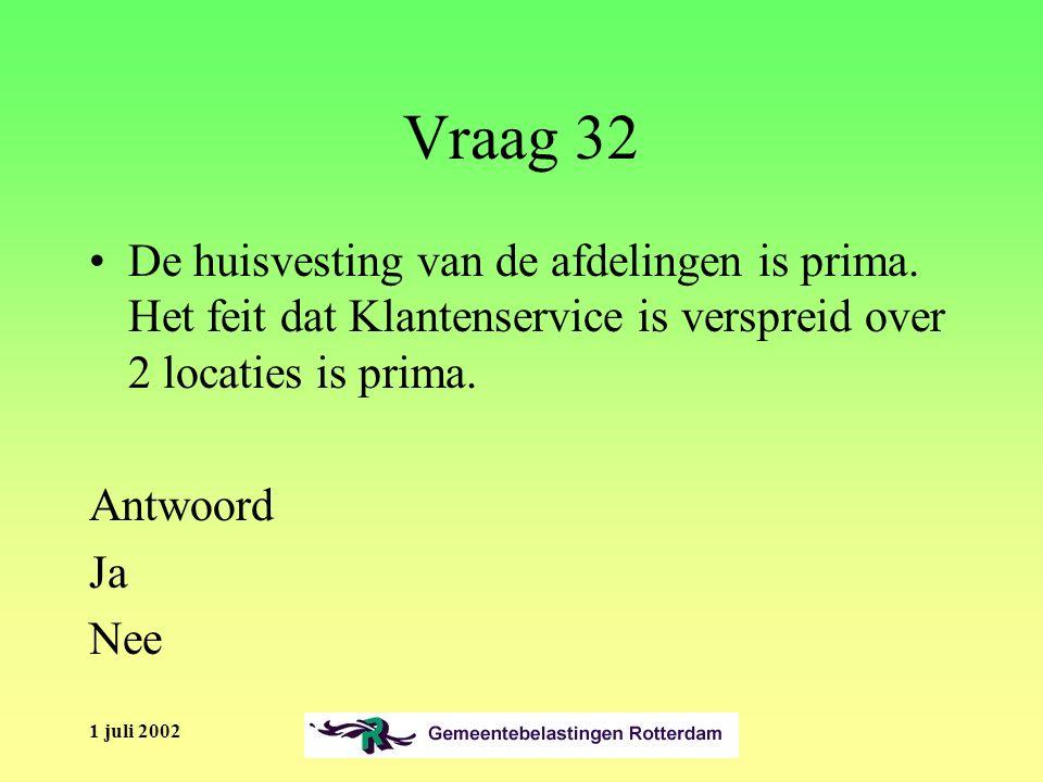 1 juli 2002 Vraag 32 De huisvesting van de afdelingen is prima.