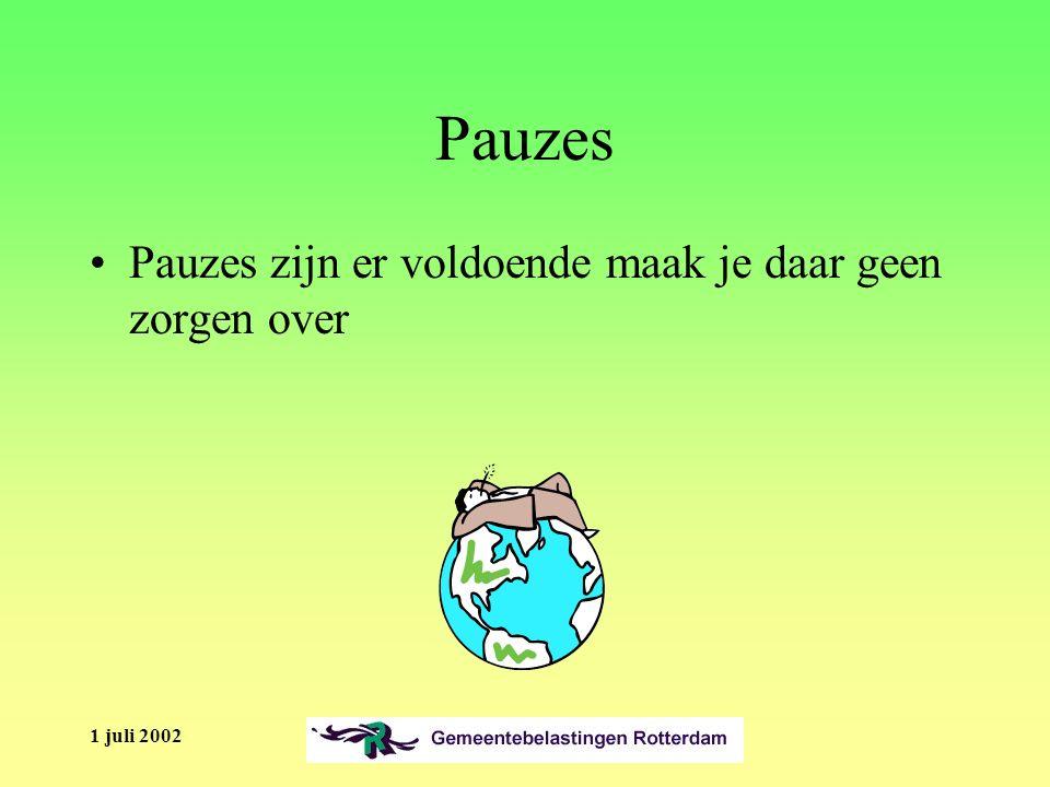 1 juli 2002 Inleiding Welkom Toelichting Time boxing Spelregels –Mobiel uit: telefoneren in pauzes –Kort en bondig antwoorden, geen proza!!.