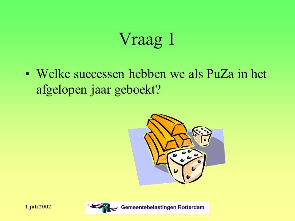 1 juli 2002 Vraag 1 Welke successen hebben we als PuZa in het afgelopen jaar geboekt