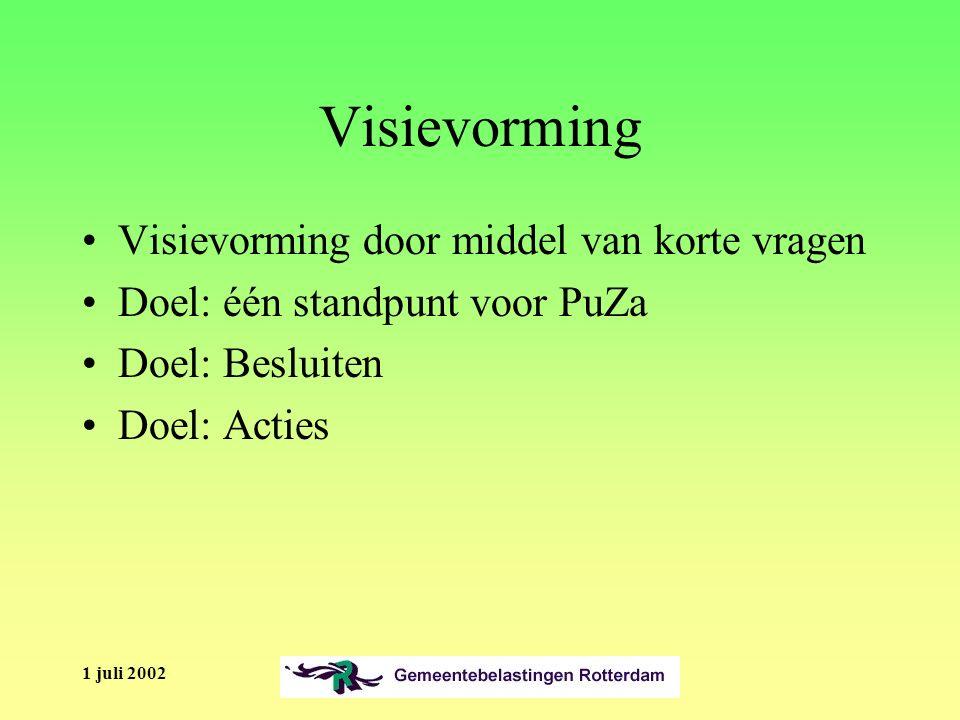 1 juli 2002 Visievorming Visievorming door middel van korte vragen Doel: één standpunt voor PuZa Doel: Besluiten Doel: Acties