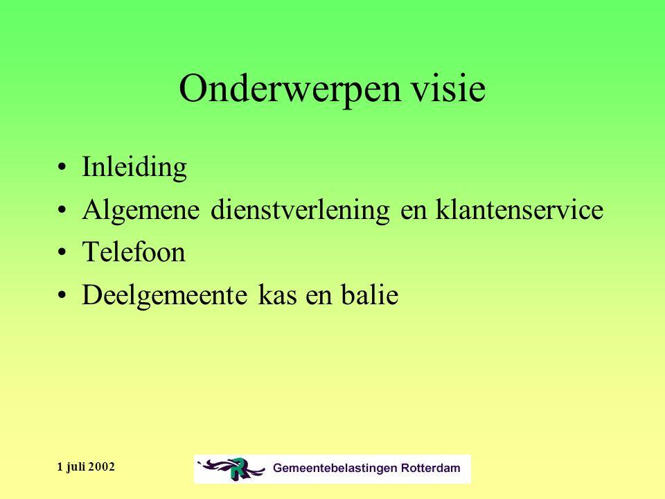 1 juli 2002 Onderwerpen visie Inleiding Algemene dienstverlening en klantenservice Telefoon Deelgemeente kas en balie