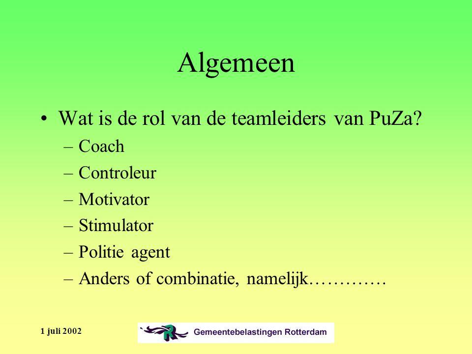 1 juli 2002 Algemeen Wat is de rol van de teamleiders van PuZa.