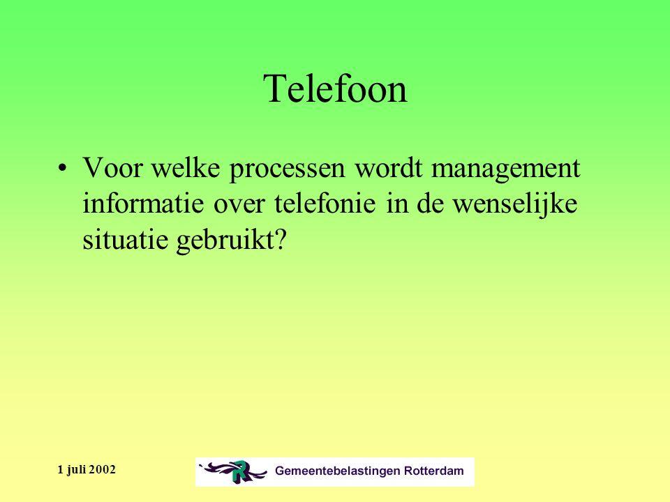 1 juli 2002 Telefoon Voor welke processen wordt management informatie over telefonie in de wenselijke situatie gebruikt