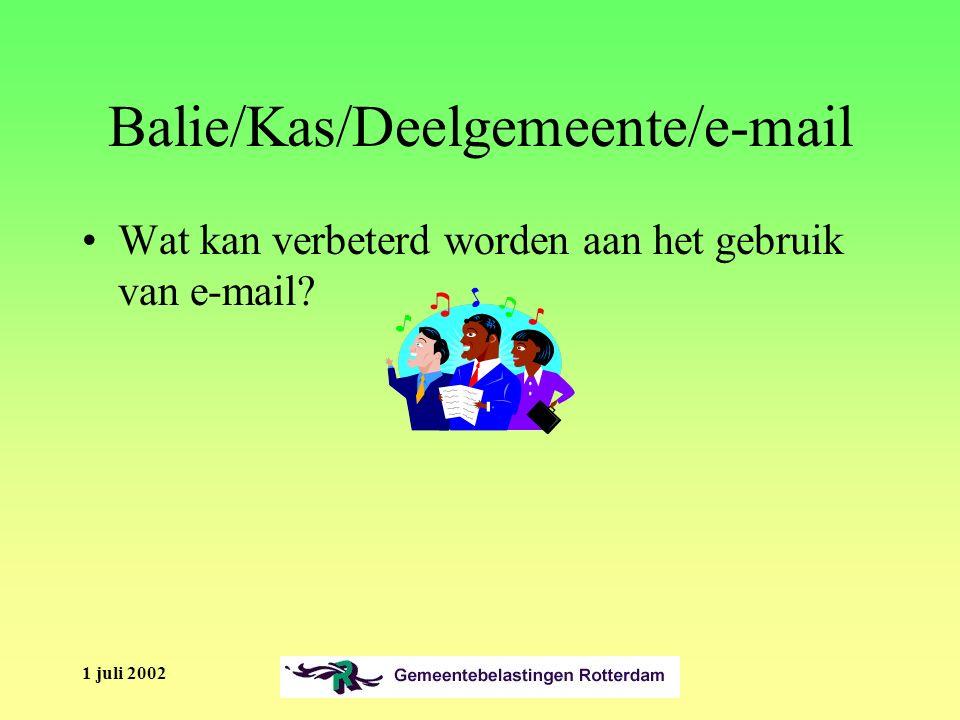 1 juli 2002 Balie/Kas/Deelgemeente/e-mail Wat kan verbeterd worden aan het gebruik van e-mail