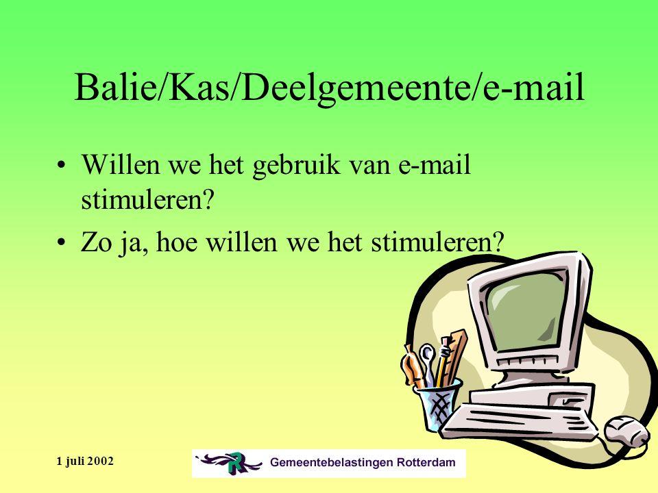1 juli 2002 Balie/Kas/Deelgemeente/e-mail Willen we het gebruik van e-mail stimuleren.