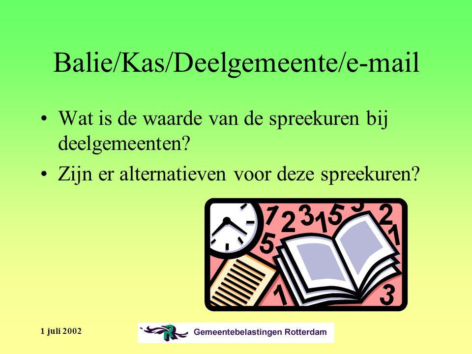 1 juli 2002 Balie/Kas/Deelgemeente/e-mail Wat is de waarde van de spreekuren bij deelgemeenten.