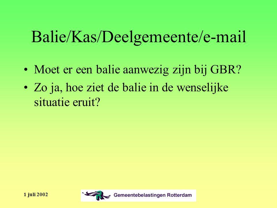 1 juli 2002 Balie/Kas/Deelgemeente/e-mail Moet er een balie aanwezig zijn bij GBR.
