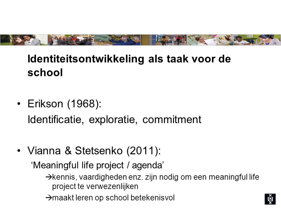 Identiteitsontwikkeling als taak voor de school Erikson (1968): Identificatie, exploratie, commitment Vianna & Stetsenko (2011): 'Meaningful life project / agenda'  kennis, vaardigheden enz.
