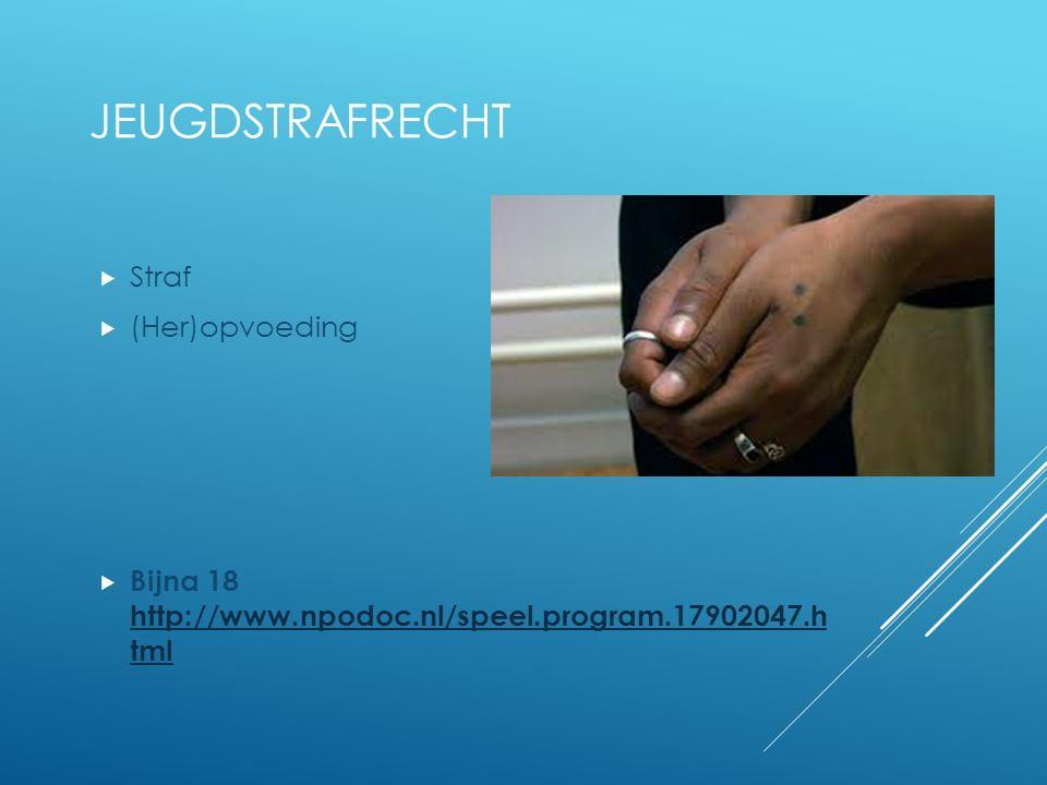 JEUGDSTRAFRECHT  Straf  (Her)opvoeding  Bijna 18 http://www.npodoc.nl/speel.program.17902047.h tml http://www.npodoc.nl/speel.program.17902047.h tml
