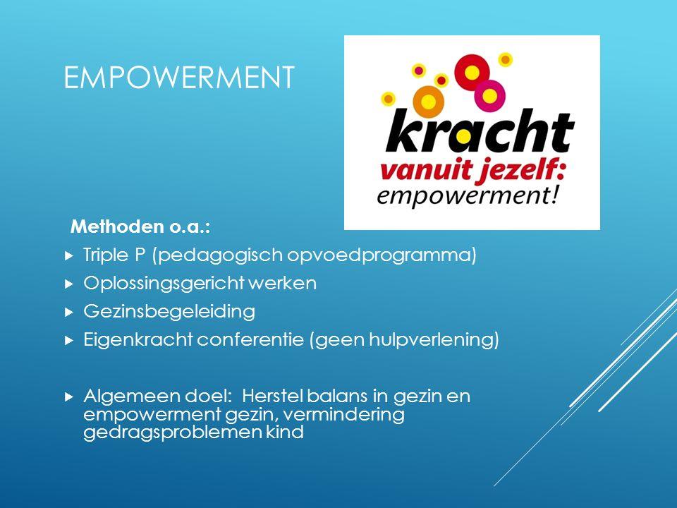 EMPOWERMENT Methoden o.a.:  Triple P (pedagogisch opvoedprogramma)  Oplossingsgericht werken  Gezinsbegeleiding  Eigenkracht conferentie (geen hul