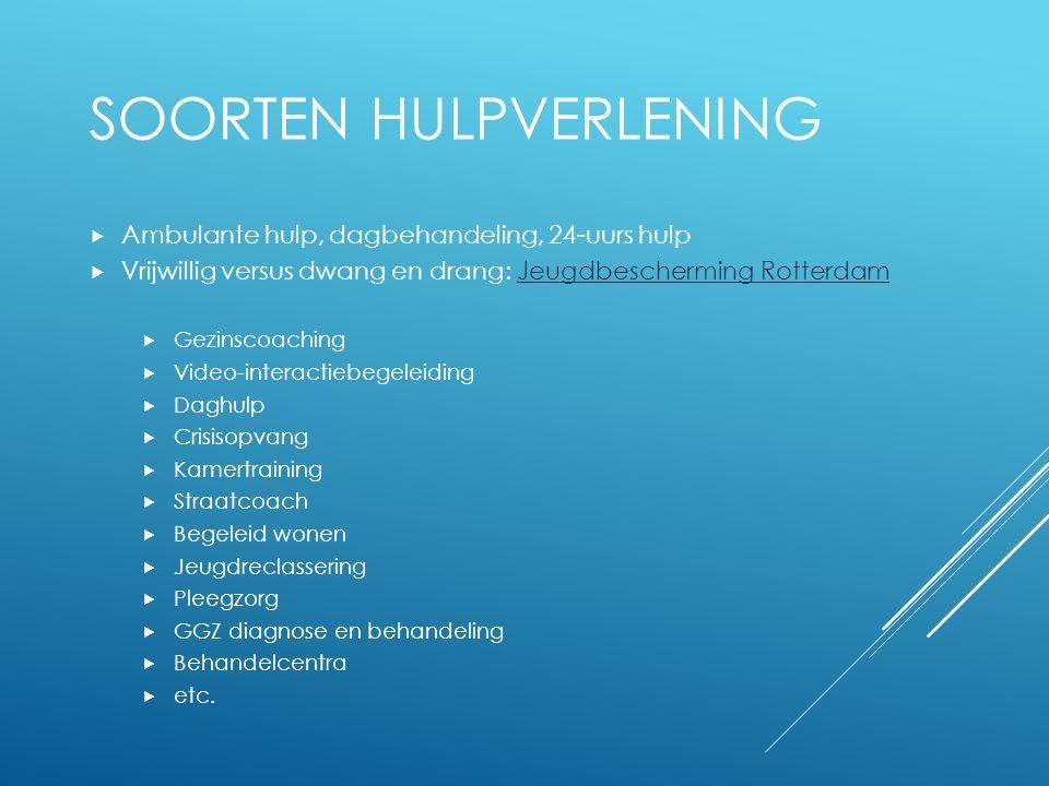 SOORTEN HULPVERLENING  Ambulante hulp, dagbehandeling, 24-uurs hulp  Vrijwillig versus dwang en drang: Jeugdbescherming RotterdamJeugdbescherming Ro