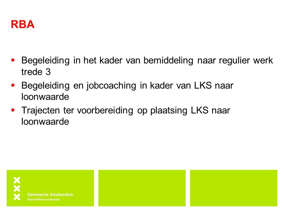 RBA  Begeleiding in het kader van bemiddeling naar regulier werk trede 3  Begeleiding en jobcoaching in kader van LKS naar loonwaarde  Trajecten ter voorbereiding op plaatsing LKS naar loonwaarde