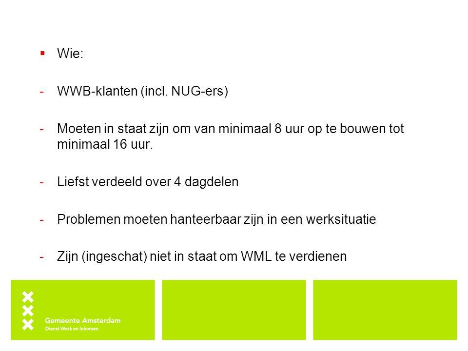  Wie: -WWB-klanten (incl. NUG-ers) -Moeten in staat zijn om van minimaal 8 uur op te bouwen tot minimaal 16 uur. -Liefst verdeeld over 4 dagdelen -Pr