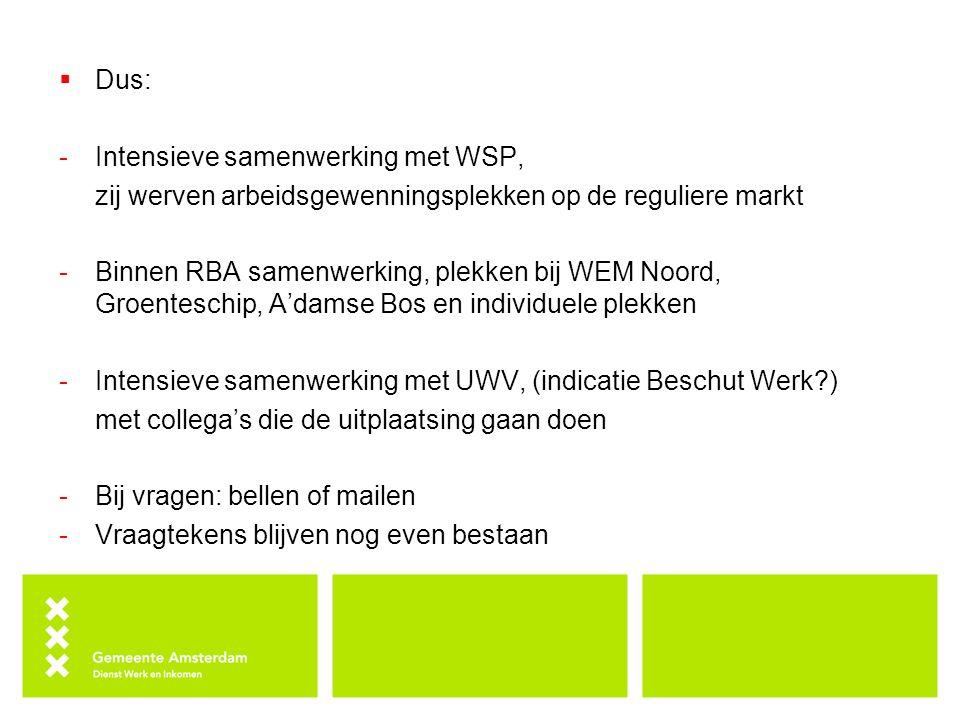  Dus: -Intensieve samenwerking met WSP, zij werven arbeidsgewenningsplekken op de reguliere markt -Binnen RBA samenwerking, plekken bij WEM Noord, Groenteschip, A'damse Bos en individuele plekken -Intensieve samenwerking met UWV, (indicatie Beschut Werk?) met collega's die de uitplaatsing gaan doen -Bij vragen: bellen of mailen -Vraagtekens blijven nog even bestaan