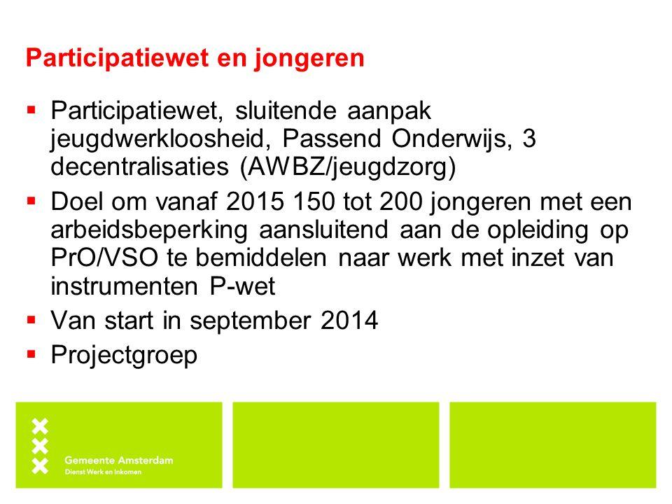 Participatiewet en jongeren  Participatiewet, sluitende aanpak jeugdwerkloosheid, Passend Onderwijs, 3 decentralisaties (AWBZ/jeugdzorg)  Doel om va