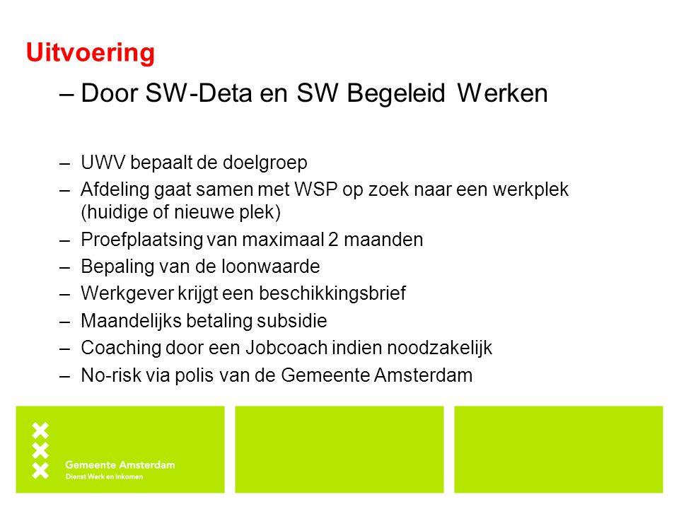 Uitvoering –Door SW-Deta en SW Begeleid Werken –UWV bepaalt de doelgroep –Afdeling gaat samen met WSP op zoek naar een werkplek (huidige of nieuwe plek) –Proefplaatsing van maximaal 2 maanden –Bepaling van de loonwaarde –Werkgever krijgt een beschikkingsbrief –Maandelijks betaling subsidie –Coaching door een Jobcoach indien noodzakelijk –No-risk via polis van de Gemeente Amsterdam