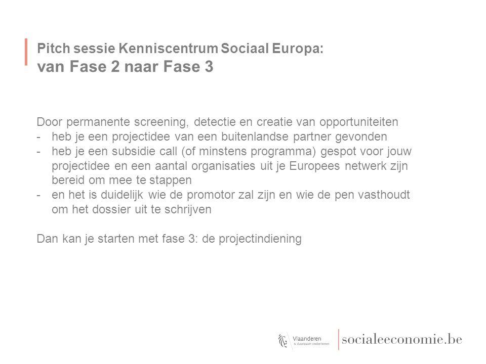 Pitch sessie Kenniscentrum Sociaal Europa: van Fase 2 naar Fase 3 Door permanente screening, detectie en creatie van opportuniteiten -heb je een proje