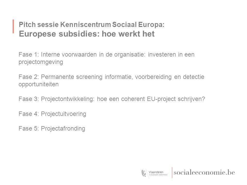 Pitch sessie Kenniscentrum Sociaal Europa: Fase 1: Kiezen voor Europese projecten 5 voorafgaande voorwaarden -Europese samenwerking als strategische keuze voor innovatie -Stabiele, performante organisatie -Performante besluitvorming in het interne proces -Investeer in een projectomgeving -Een Europa-verantwoordelijke zorgt voor permanente screening en procesmanagement