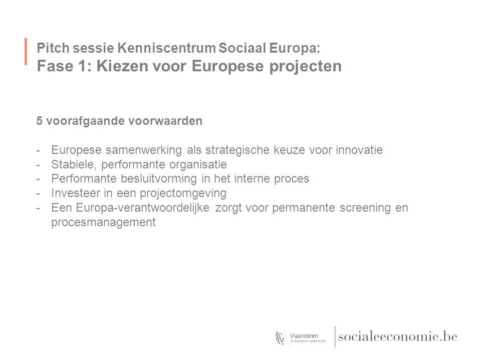Pitch sessie Kenniscentrum Sociaal Europa: Fase 1: Kiezen voor Europese projecten 5 voorafgaande voorwaarden -Europese samenwerking als strategische k