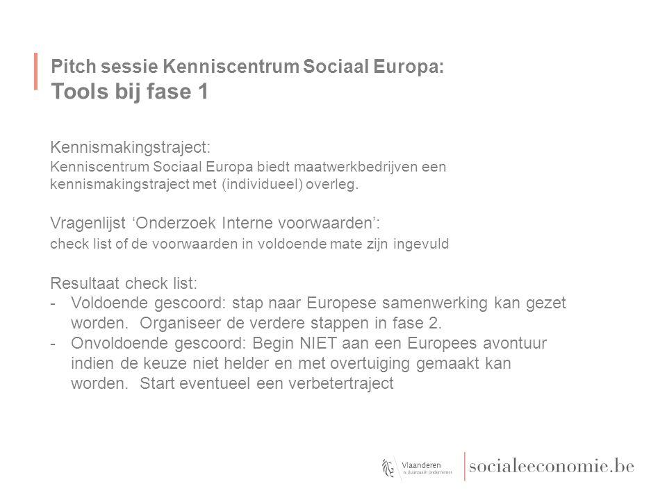 Pitch sessie Kenniscentrum Sociaal Europa: Fase 2: van 'chaos' naar 'uitkristaliseren' Doel van deze fase = van veelheid van info en opportuniteiten komen tot 'potentieel project'.