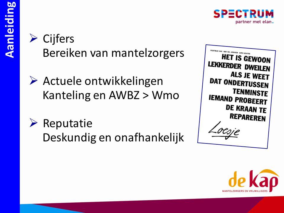 Aanleiding  Cijfers Bereiken van mantelzorgers  Actuele ontwikkelingen Kanteling en AWBZ > Wmo  Reputatie Deskundig en onafhankelijk