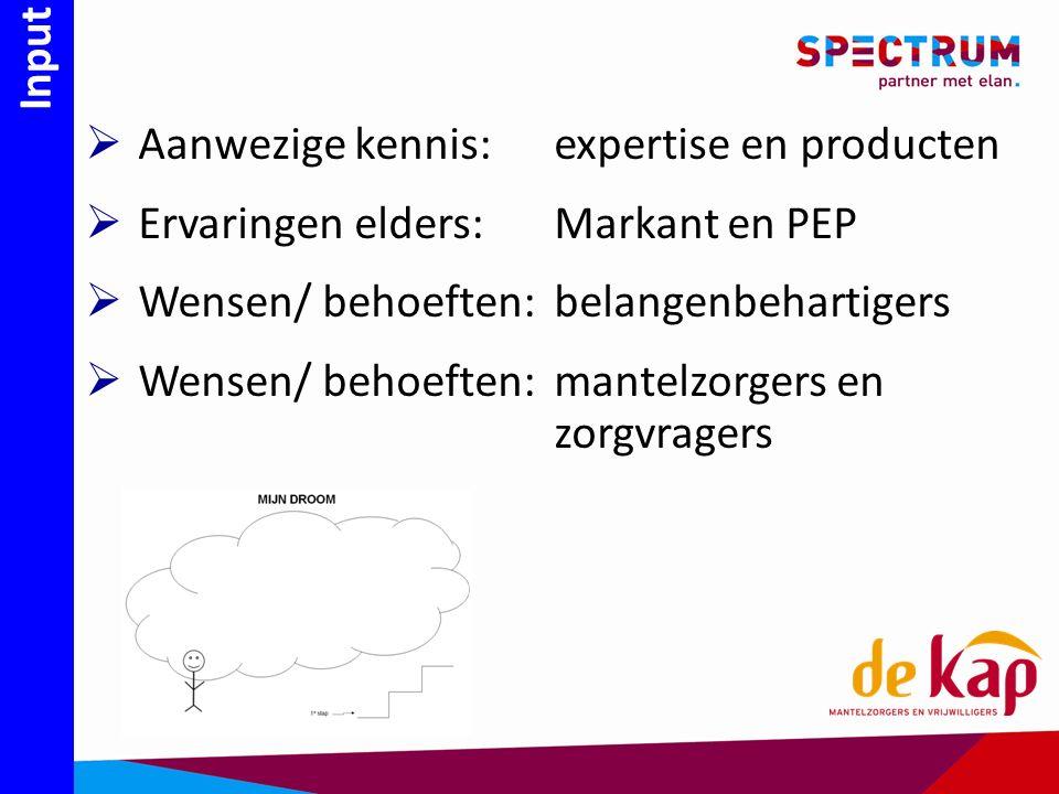 Input  Aanwezige kennis: expertise en producten  Ervaringen elders: Markant en PEP  Wensen/ behoeften:belangenbehartigers  Wensen/ behoeften:mantelzorgers en zorgvragers