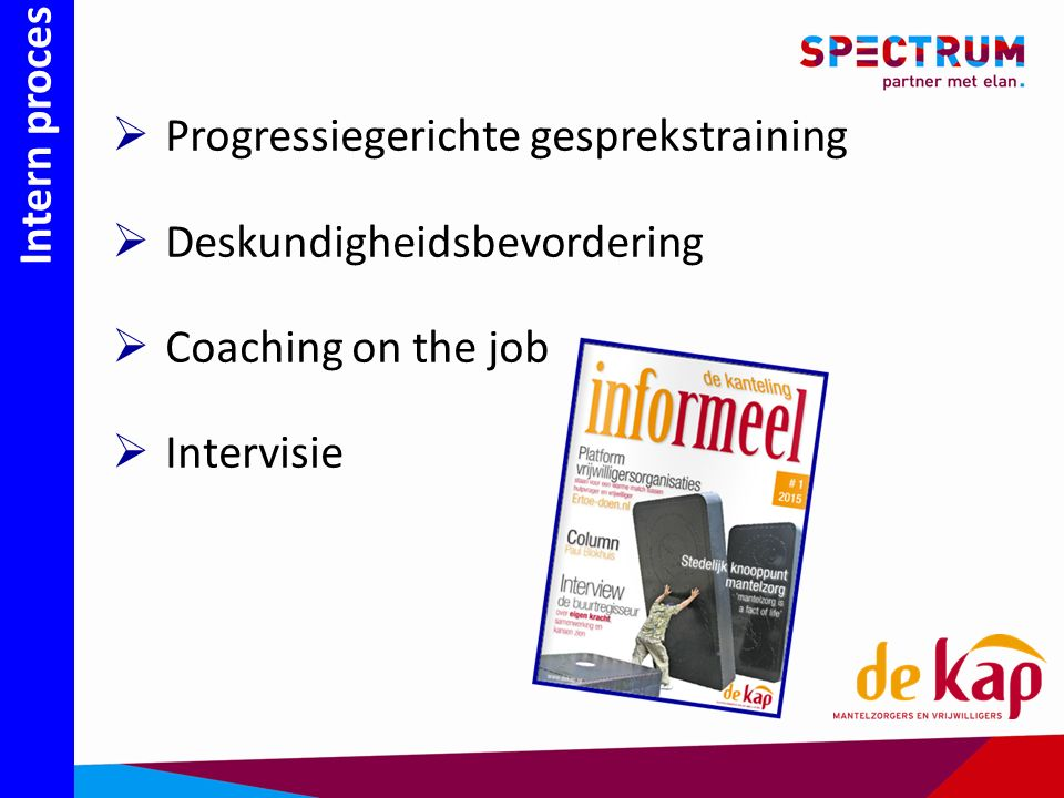 Intern proces  Progressiegerichte gesprekstraining  Deskundigheidsbevordering  Coaching on the job  Intervisie