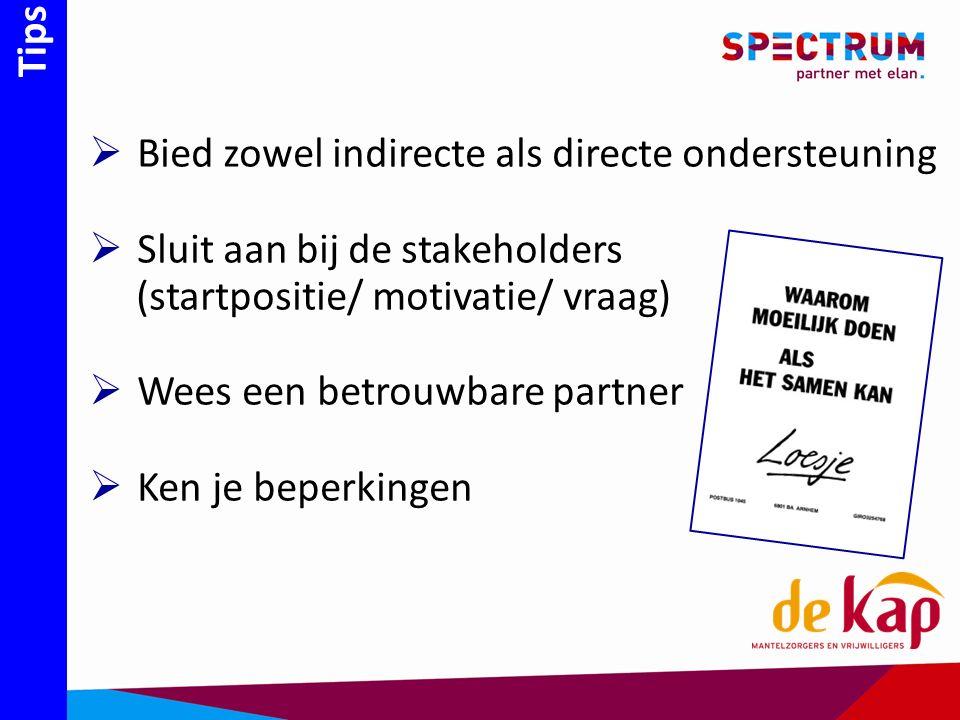 Tips  Bied zowel indirecte als directe ondersteuning  Sluit aan bij de stakeholders (startpositie/ motivatie/ vraag)  Wees een betrouwbare partner  Ken je beperkingen