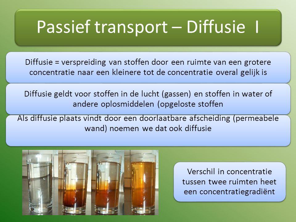 Passief transport – Diffusie I Diffusie = verspreiding van stoffen door een ruimte van een grotere concentratie naar een kleinere tot de concentratie