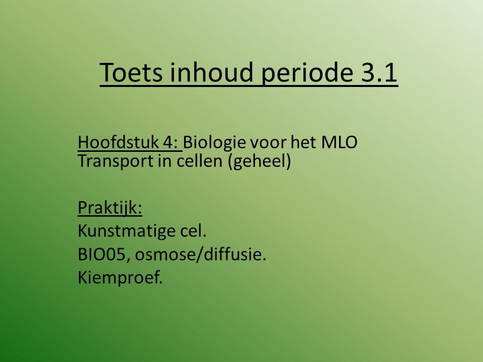 Toets inhoud periode 3.1 Hoofdstuk 4: Biologie voor het MLO Transport in cellen (geheel) Praktijk: Kunstmatige cel. BIO05, osmose/diffusie. Kiemproef.