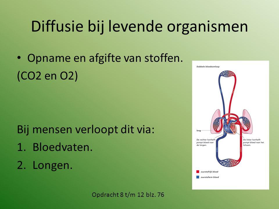 Diffusie bij levende organismen Opname en afgifte van stoffen. (CO2 en O2) Bij mensen verloopt dit via: 1.Bloedvaten. 2.Longen. Opdracht 8 t/m 12 blz.