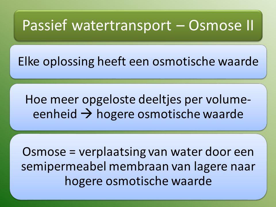 Passief watertransport – Osmose II Elke oplossing heeft een osmotische waarde Hoe meer opgeloste deeltjes per volume- eenheid  hogere osmotische waar