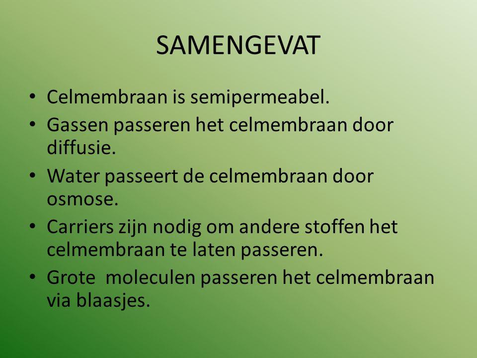 SAMENGEVAT Celmembraan is semipermeabel. Gassen passeren het celmembraan door diffusie. Water passeert de celmembraan door osmose. Carriers zijn nodig