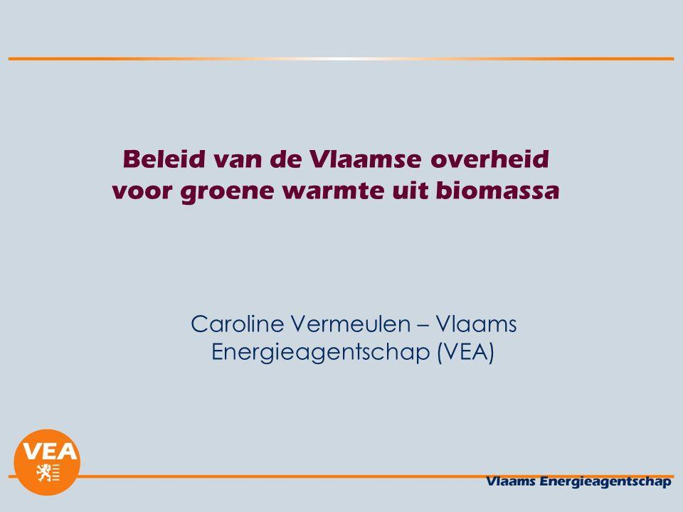 Beleid van de Vlaamse overheid voor groene warmte uit biomassa Caroline Vermeulen – Vlaams Energieagentschap (VEA)