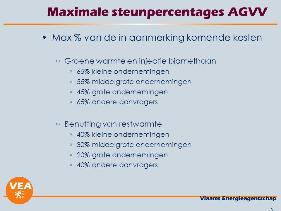 13 Maximale steunpercentages AGVV Max % van de in aanmerking komende kosten ○Groene warmte en injectie biomethaan ◦65% kleine ondernemingen ◦55% middelgrote ondernemingen ◦45% grote ondernemingen ◦65% andere aanvragers ○Benutting van restwarmte ◦40% kleine ondernemingen ◦30% middelgrote ondernemingen ◦20% grote ondernemingen ◦40% andere aanvragers