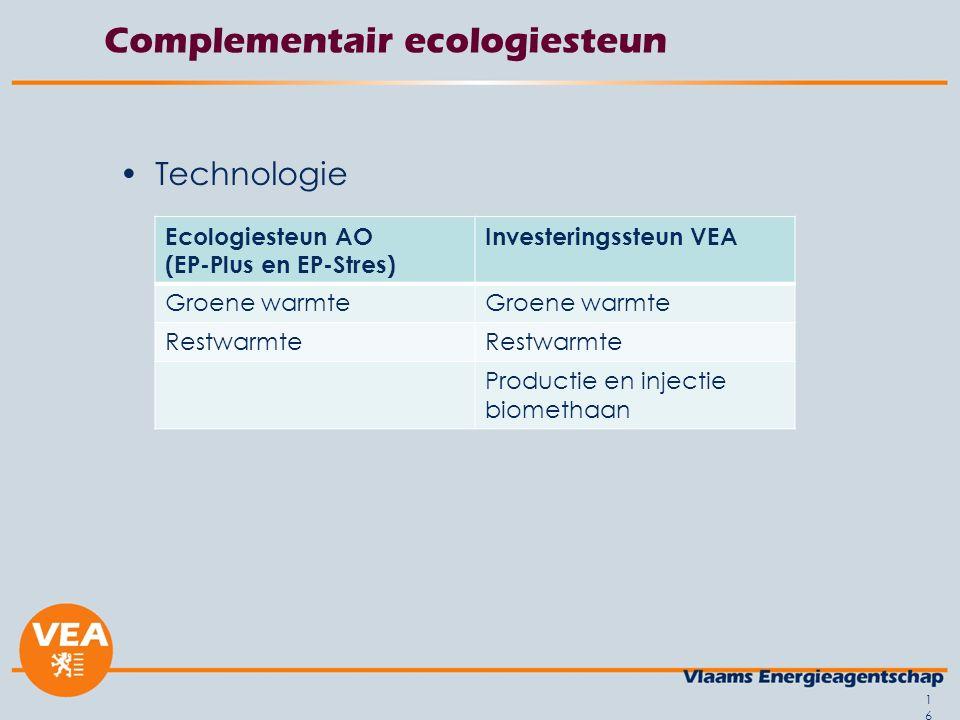 Complementair ecologiesteun Technologie 16 Ecologiesteun AO (EP-Plus en EP-Stres) Investeringssteun VEA Groene warmte Restwarmte Productie en injectie biomethaan