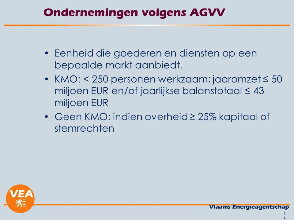 Ondernemingen volgens AGVV Eenheid die goederen en diensten op een bepaalde markt aanbiedt.