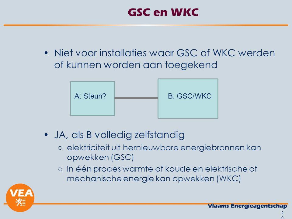 GSC en WKC Niet voor installaties waar GSC of WKC werden of kunnen worden aan toegekend JA, als B volledig zelfstandig ○elektriciteit uit hernieuwbare energiebronnen kan opwekken (GSC) ○in één proces warmte of koude en elektrische of mechanische energie kan opwekken (WKC) 20 A: Steun B: GSC/WKC