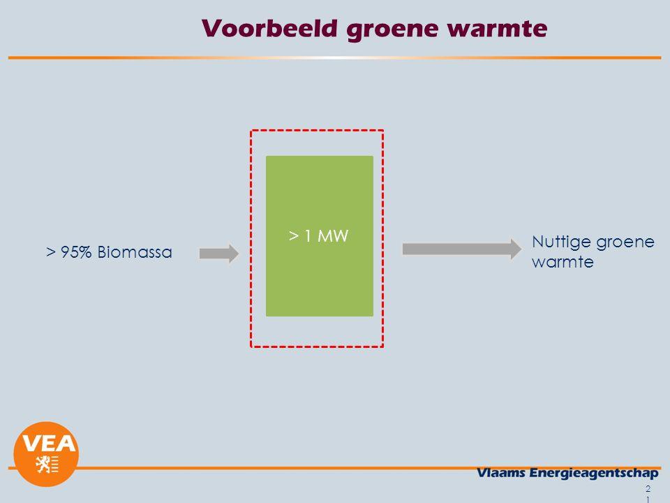 Voorbeeld groene warmte > 1 MW Nuttige groene warmte > 95% Biomassa 21