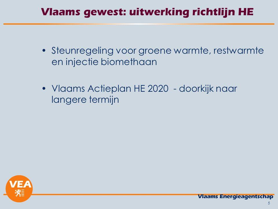 Vlaams gewest: uitwerking richtlijn HE Steunregeling voor groene warmte, restwarmte en injectie biomethaan Vlaams Actieplan HE 2020 - doorkijk naar langere termijn 5
