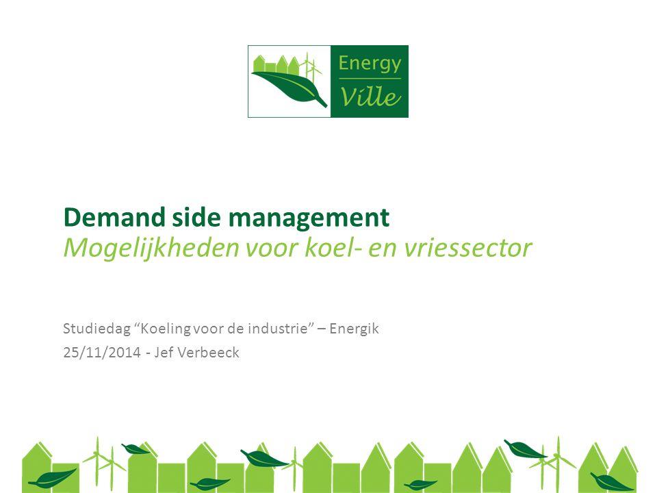 Demand side management Studiedag Koeling voor de industrie – Energik 25/11/2014 - Jef Verbeeck Mogelijkheden voor koel- en vriessector