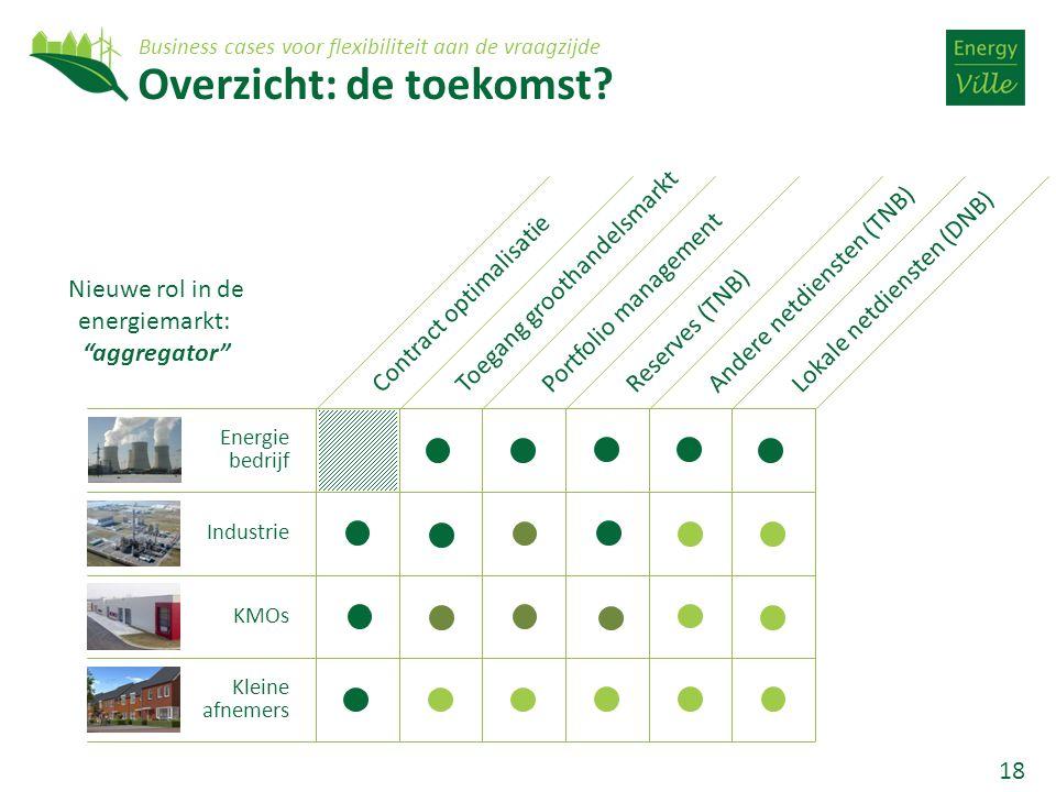 18 Overzicht: de toekomst? Energie bedrijf Industrie KMOs Kleine afnemers Contract optimalisatieToegang groothandelsmarktPortfolio managementLokale ne