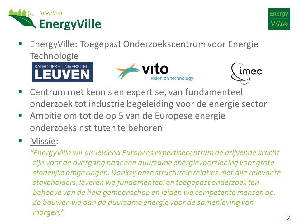 2 EnergyVille  EnergyVille: Toegepast Onderzoekscentrum voor Energie Technologie  Centrum met kennis en expertise, van fundamenteel onderzoek tot industrie begeleiding voor de energie sector  Ambitie om tot de op 5 van de Europese energie onderzoeksinstituten te behoren  Missie: EnergyVille wil als leidend Europees expertisecentrum de drijvende kracht zijn voor de overgang naar een duurzame energievoorziening voor grote stedelijke omgevingen.