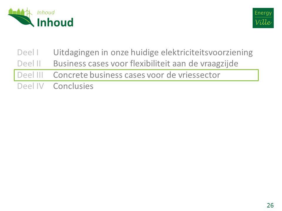 26 Deel IUitdagingen in onze huidige elektriciteitsvoorziening Deel IIBusiness cases voor flexibiliteit aan de vraagzijde Deel IIIConcrete business cases voor de vriessector Deel IVConclusies Inhoud