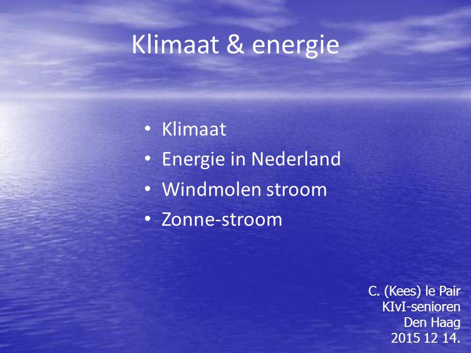 Klimaat & energie Klimaat Energie in Nederland Windmolen stroom Zonne-stroom C.
