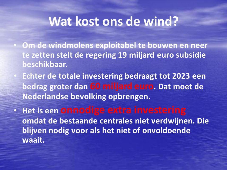 Wat kost ons de wind.