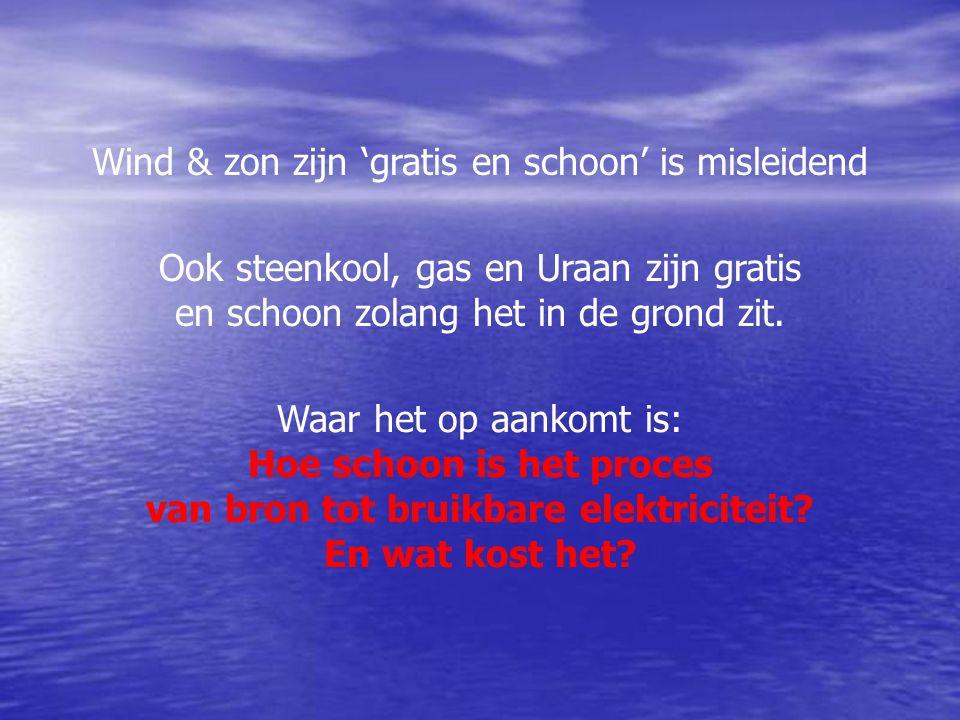 Wind & zon zijn 'gratis en schoon' is misleidend Ook steenkool, gas en Uraan zijn gratis en schoon zolang het in de grond zit.