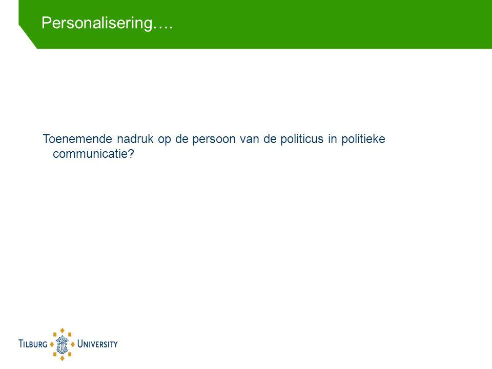 Toenemende nadruk op de persoon van de politicus in politieke communicatie Personalisering….